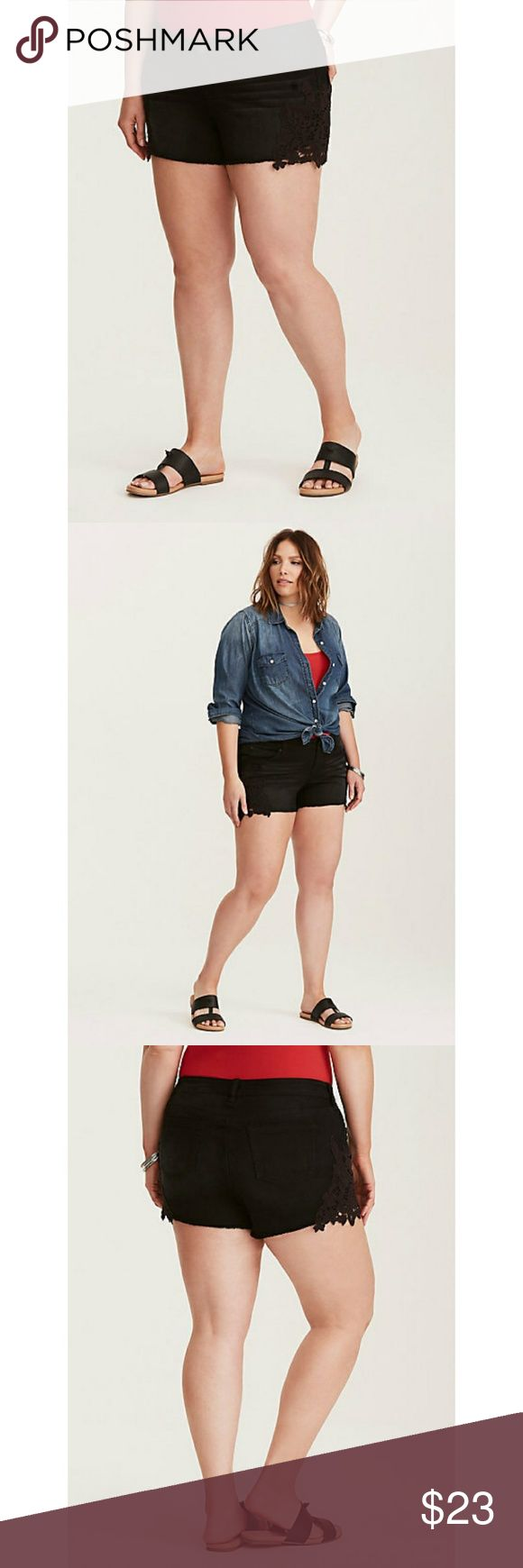 """NWT Size 20 Torrid Vintage Black Crochet Shorts NWT Size 20 Torrid Vintage Black Crochet Denim Shorts. The frayed short short style looks rocker chic at first with a black wash that's been faded. But lace insets on the sides sweeten up the style, the perfect motivation to rock shorts all summer long.  Mid-rise. 3.5"""" inseam. 98% cotton/ 2% spandex.  Please check out my other listings 😘 torrid Shorts Jean Shorts"""
