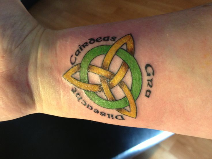Celtic tattoo...the words in Gaelic: love, loyalty, friendship More Irish Loyalty Symbol Tattoo