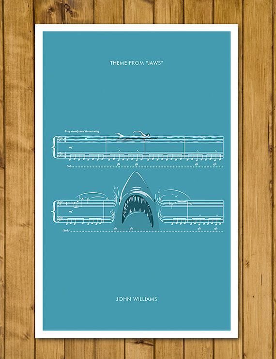 JAWS - Theme from Jaws by John Williams - Movie Classics Poster (US and European Sizes Available)