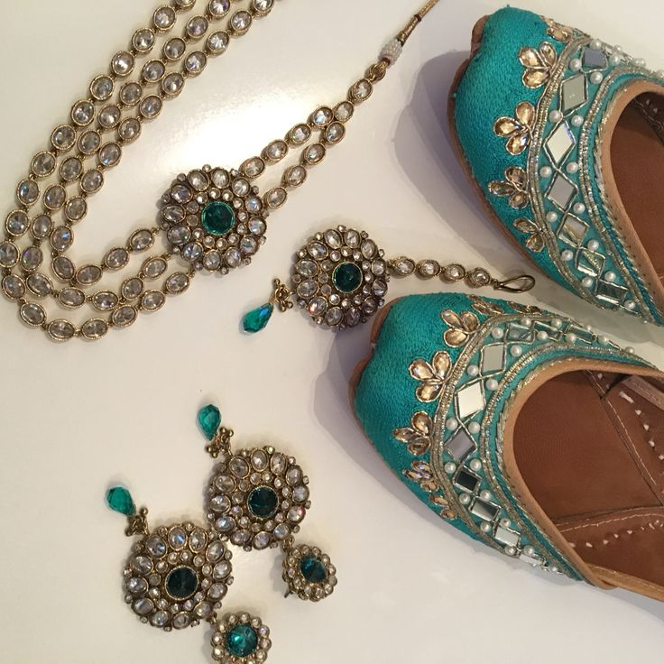 Jade turquoise Punjabi Juttis and crystal Rani Haar set complete with earrings and tikka by Tyche London.