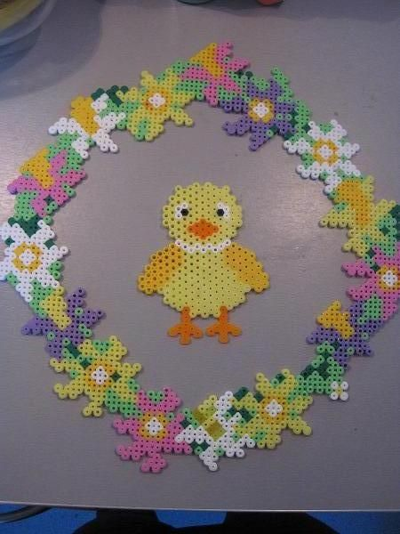 Easter wreath hama perler by Krea Krumspring