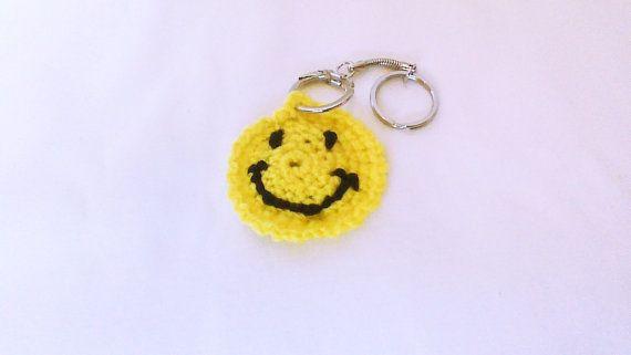 Crochet keychain Happy face crochet  key chain by HandmadeTrend, $4.00