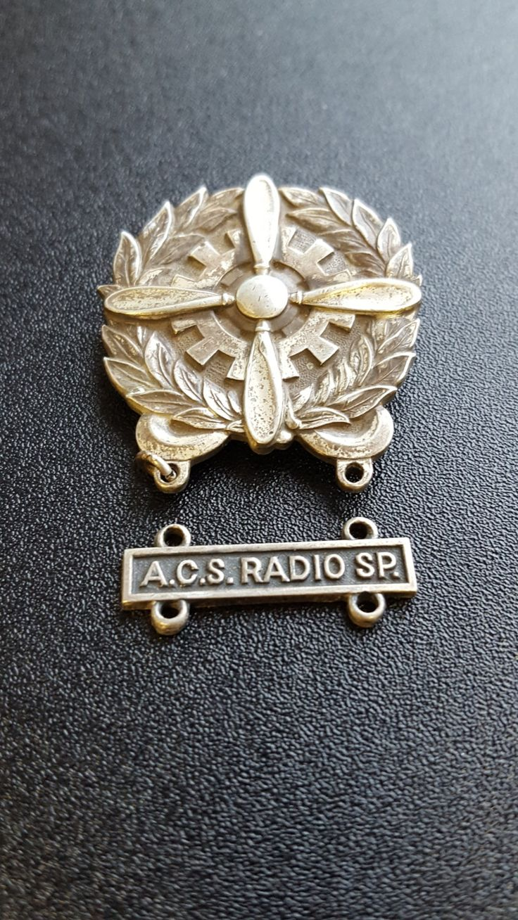 WWII AAF Technician Badge~Sterling Silver Pin~U.S. Military Medal Insignia~Pin w/ One Bar~A.C.S. RADIO Sp.~by JewelsandMetals. by JewelsandMetals on Etsy