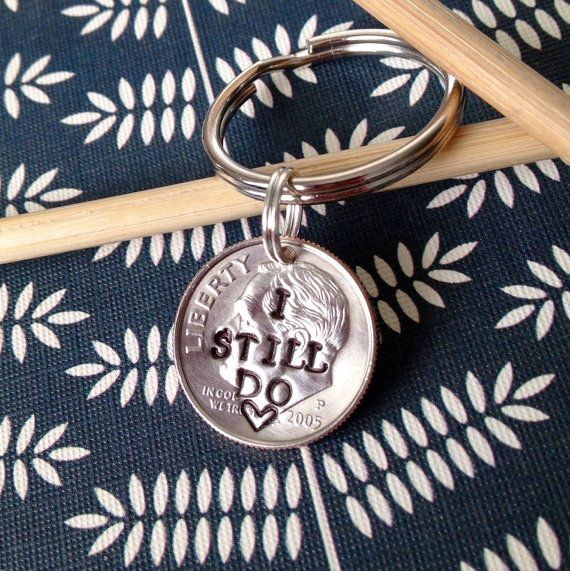 I Still Do, 10 Year Anniversary Custom Dime Keychain, Personalized Hand Stamped Dime, Gift for Him, Gift for Her, Initials, Heart