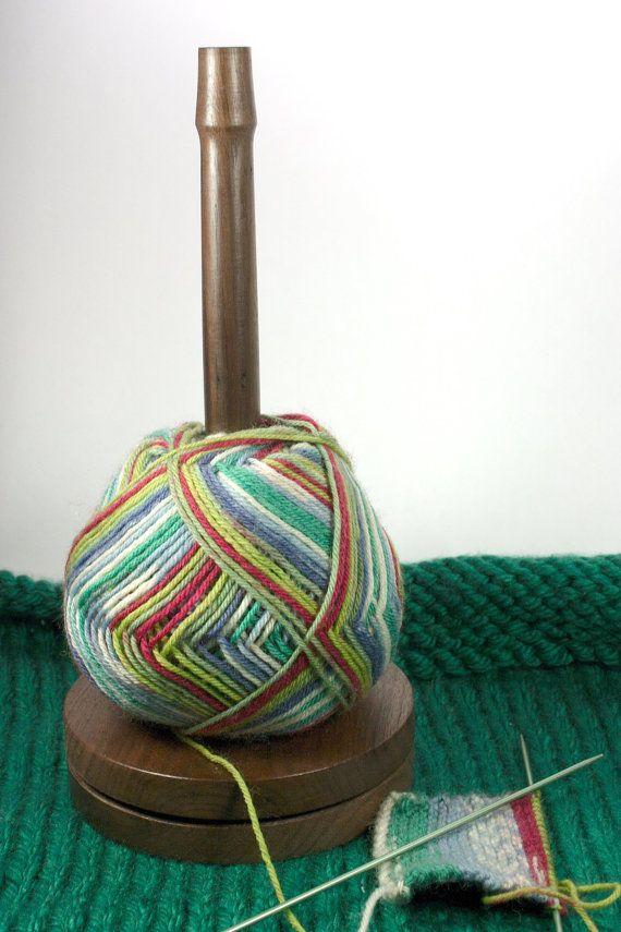 black walnut yarn holder spinner