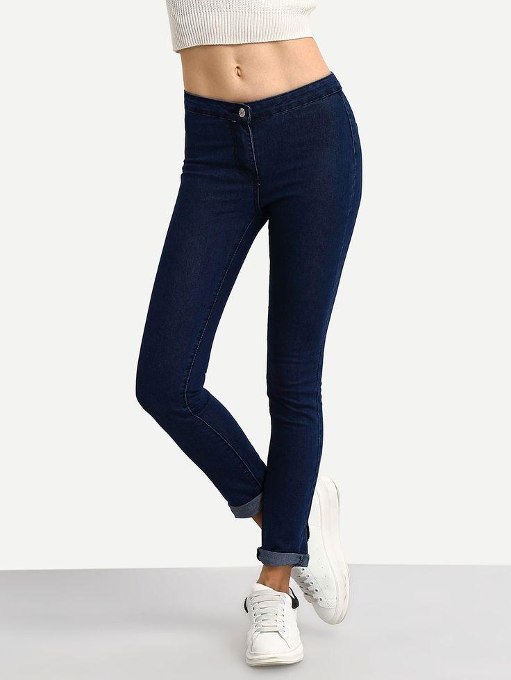 pantalon moulant -bleu foncé -French SheIn(Sheinside)