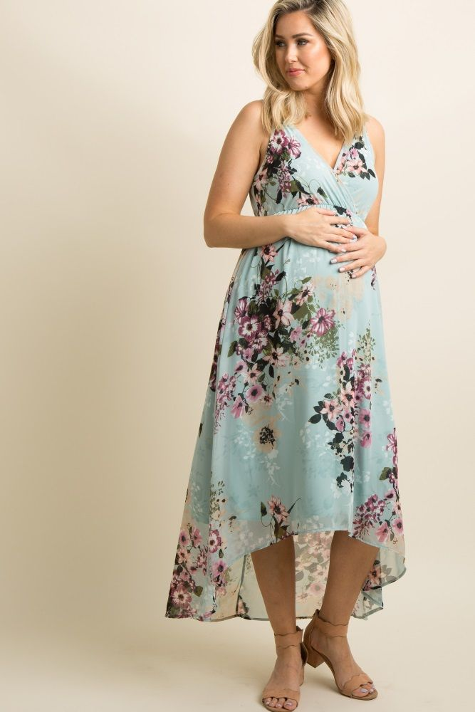 ae78aad8fca91 Light Pink Floral Sleeveless Hi-Low Maternity Wrap Dress | Maternity ...