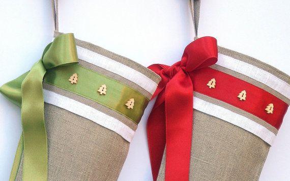 Shabby chic calcetín de Navidad de arpillera por KatysHomeDesigns