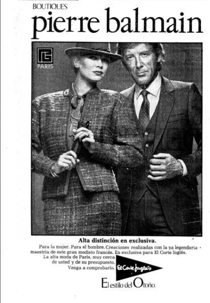Publicidad Pierre Balmain para El Corte Inglés. Qué poses más elegantes!!