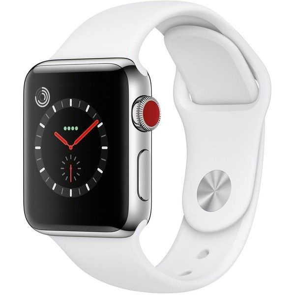 Apple Watch Series 3 (Gps + Cellular), 38mm Stainless Steel Case with... ($599) ❤ liked on Polyvore featuring jewelry, watches, no color, sport wrist watch, sports watches, apple wrist watch, sports wrist watch and apple jewelry