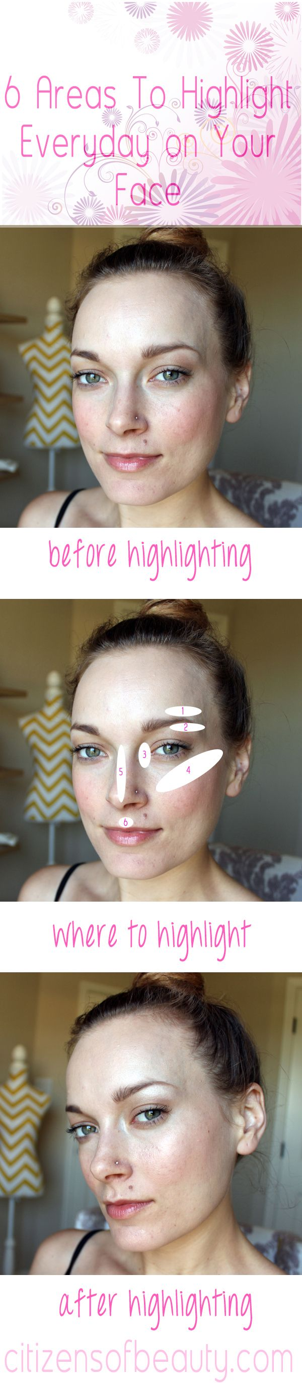 6 Areas of Your Face to Highlight Everyday via @citizensofbeauty #highlighting #MAC