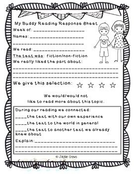 "In this file you get your choice of four different reading buddy response forms.  I designed them with the ""DAILY FIVE"" in mind, however, they can be used for reading any text whatsoever.  There are two for fiction and two for non-fiction.  These are also useful for literacy centers or student book report projects."