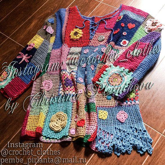 Gypsy Boho Freeform Patchwork Designer by CrochetLaceClothing