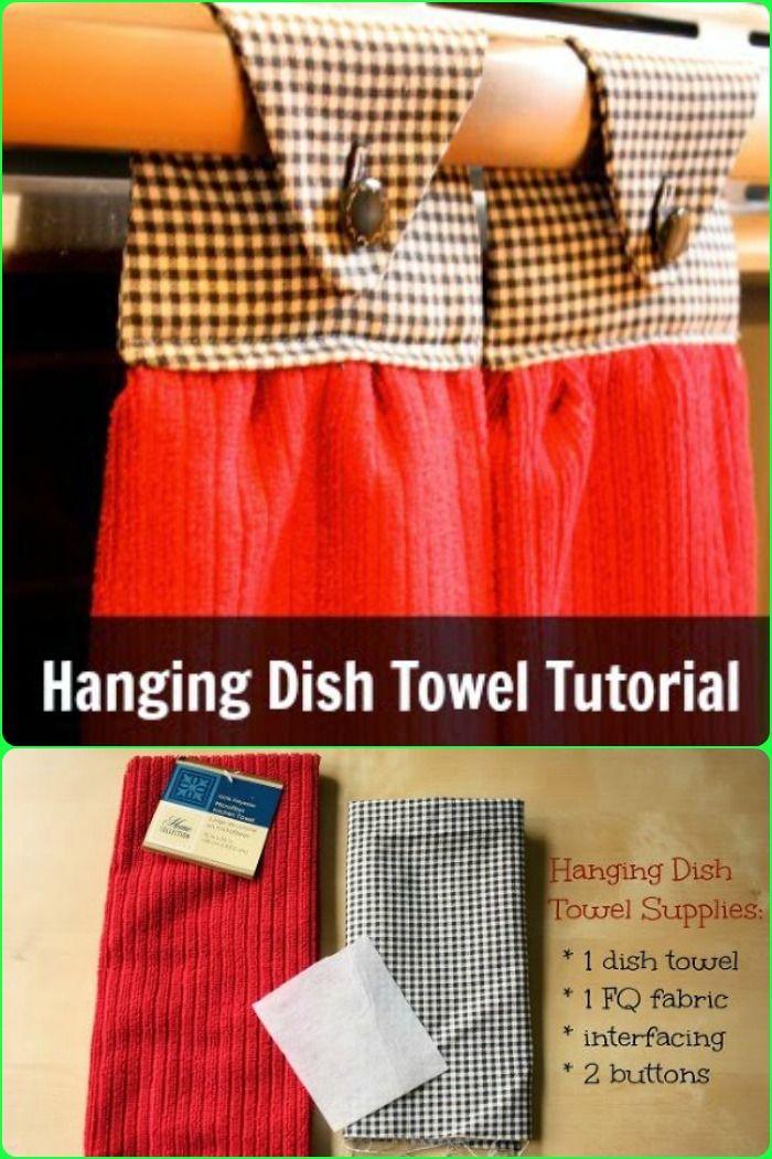 DIY Hanging dish towel tutorial ~ I remember these when I was a kid ~ I think I need to make a few for my kitche.  http://www.hometalk.com/l/EAG