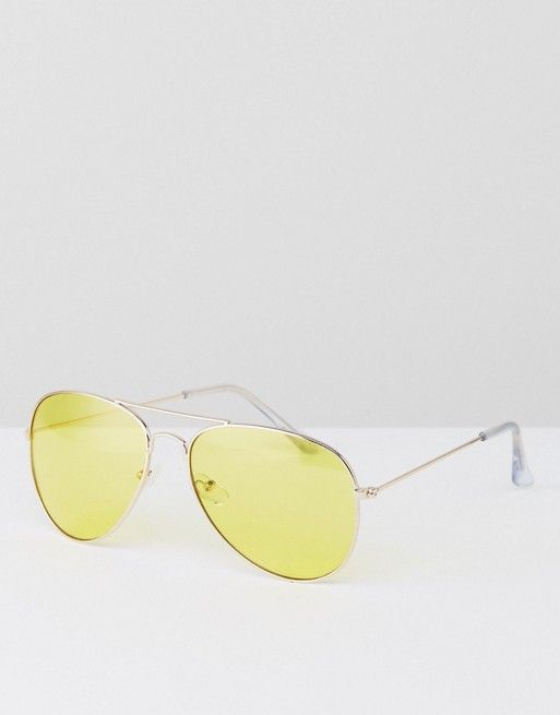 Jeepers Peepers Aviator Gold Sunglasses with Yellow Tinted Lens