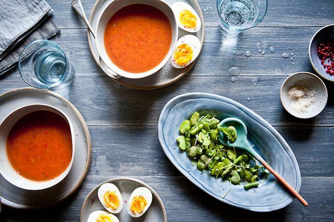 Gazpacho  With Fava Bean Asparagus Salad