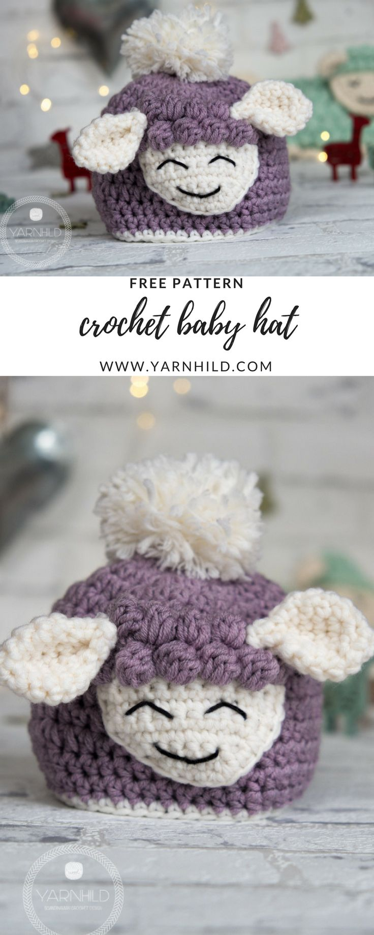 Crochet Baby Hat - Sverre the Lamb. Free pattern on yarnhild.com