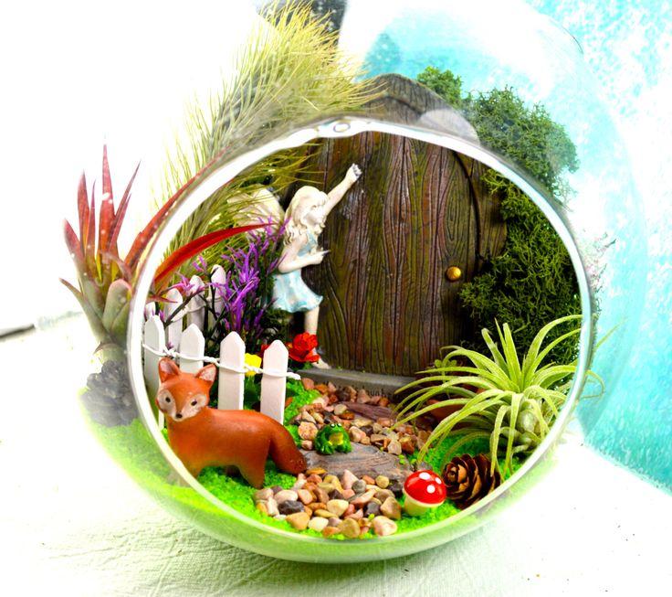 Enchanted Fairy Garden Terrarium Kit ~ Fairy Door ~ Fox, Squirrel Or  Raccoon ~ White