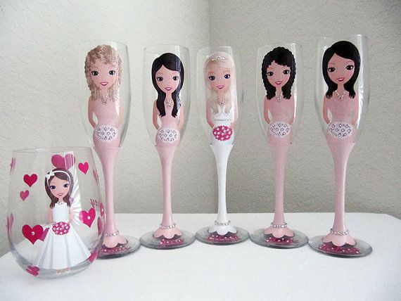 Personalized Wine Glasses Bridesmaid Wine by JennyDsCreations