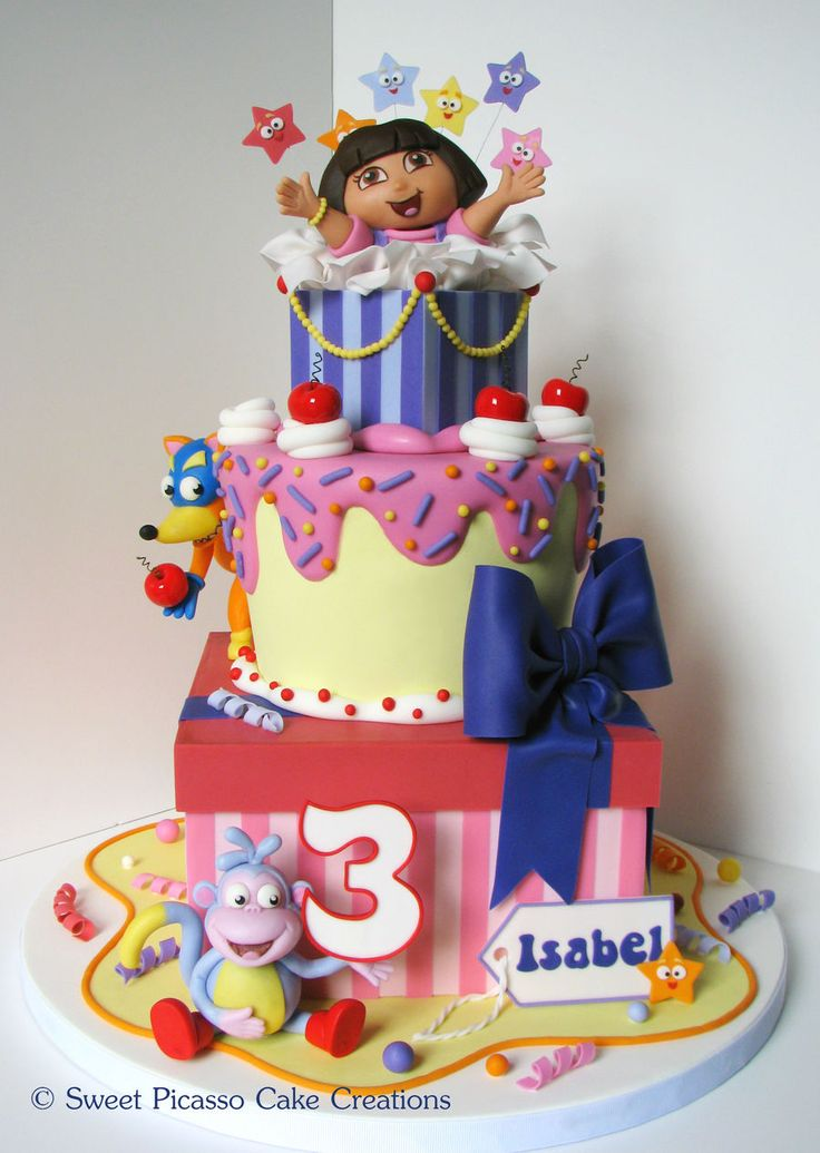 "A Dora cake for my daughter!  Cake is 8"" square,..."
