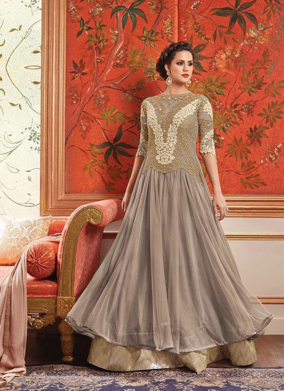 Amazing Khaki and Golden Designer Anarkali Suit