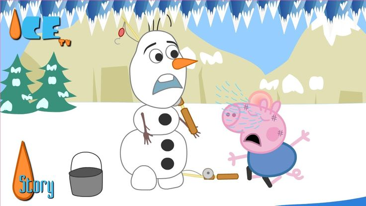 Olaf Compete Fishing With George Pig Funny Story by Ice TV