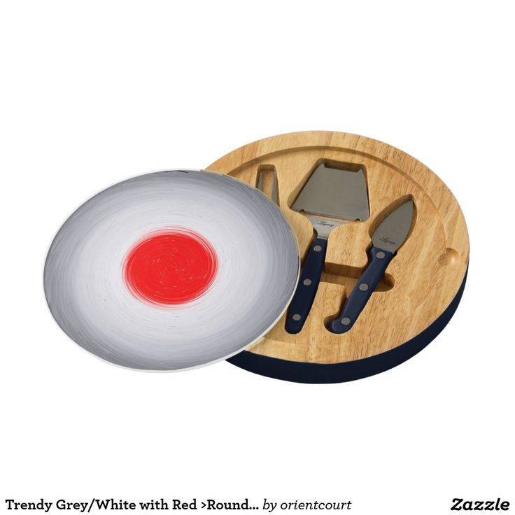 Trendy Grey/White with Red >Round Cheese Boards Cheese Board