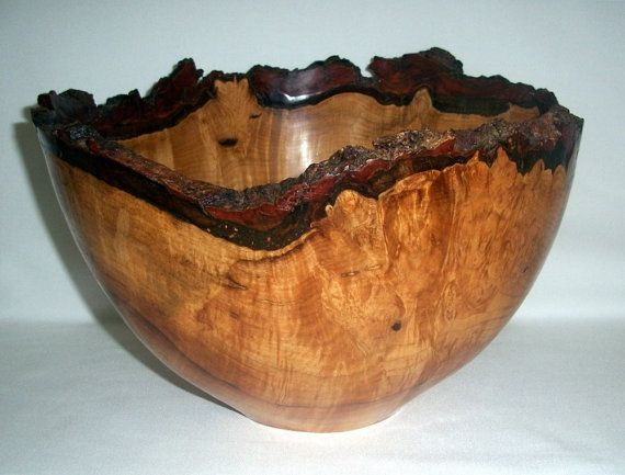 Silver maple bark edge turned bowl wood turning art and