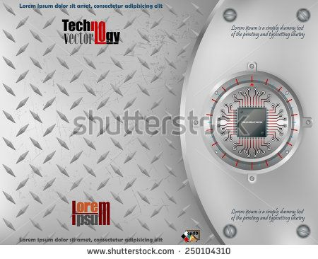 Abstract technology background; Processor Chip on circular metallic device nailed with screws to steel board and scratched metallic background.