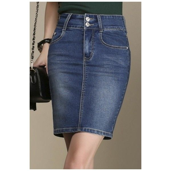 Women's Fashion Denim Skirt Pencil Oversize Midi Skirt ($32) ❤ liked on Polyvore featuring skirts, calf length skirts, denim skirt, denim midi skirt, knee length denim pencil skirt and blue denim skirt