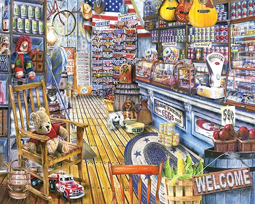 """Jackson's General Store is a 1000 piece jigsaw puzzle from White Mountain. Puzzle measures 24"""" x 30"""" when complete."""