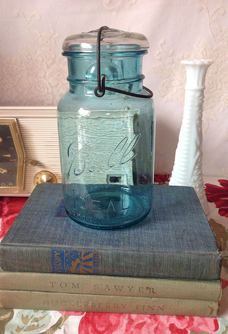 Vintage Ball Blue Mason Jar Quart Size, Vintage Ball Canning Jars,  Vintage Mason Jars, Country Decor, Primitive Farmhouse Decor, Shabby by LakesideVintageShop on Etsy