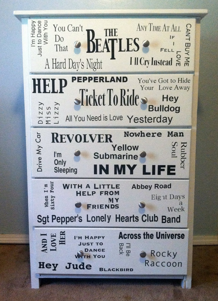 Just a little Creativity: From Drab to Fab! The Beatles Dresser Makeover {DIY}