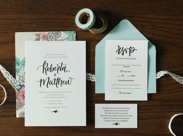 Wedding Invitation Ideas: Whimsical Hand Lettered Wedding Invitations by AllieRuth Design via Oh So Beautiful Paper