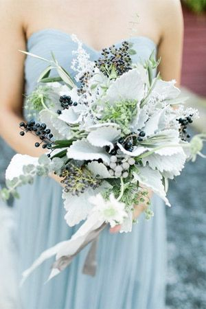 bridal bouquet with lambs ear and privet berries - brides of adelaide