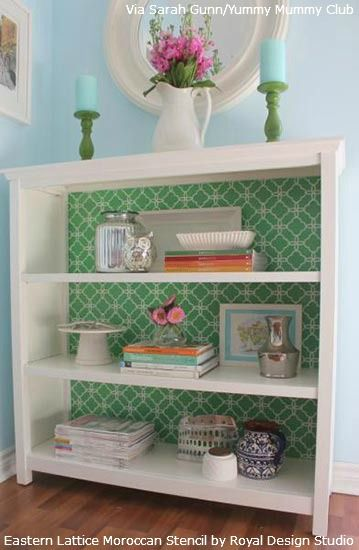 Stenciled Bookcase Makeovers | Royal Design Studio Stencils