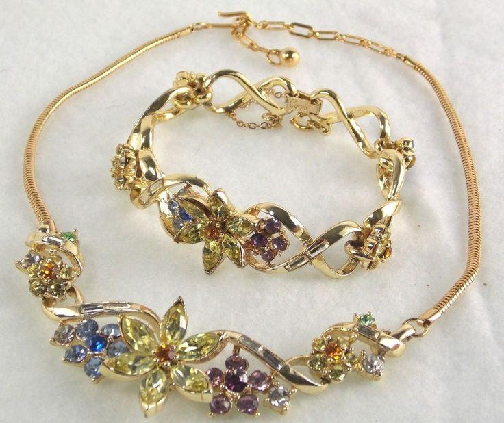 MINT CORO Set Necklace & Bracelet Vintage Gold Metal Spring Flowers Snake Chain  #Coro
