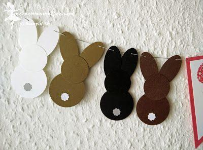 Stampin 'Up !, Easter egg hunt, Banner, Bunting, Punch Art rabbits, bunnies…