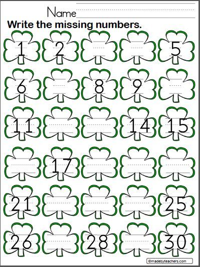st patrick s day write the missing numbers to 30 preschool math kindergarten math worksheets. Black Bedroom Furniture Sets. Home Design Ideas
