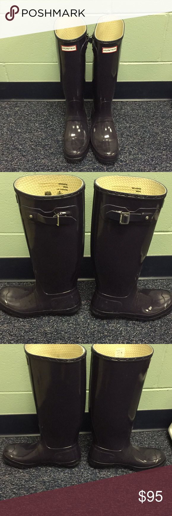 Dark Purple Hunter Boots A classic pair of Hunter boots in a dark purple color. Only worn a few times. Hunter Boots Shoes Winter & Rain Boots