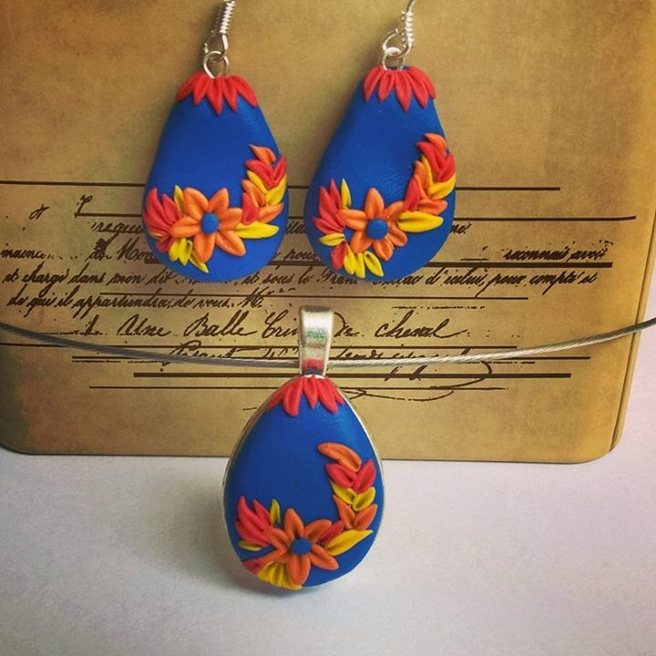 Polymer earrings and necklace 😁