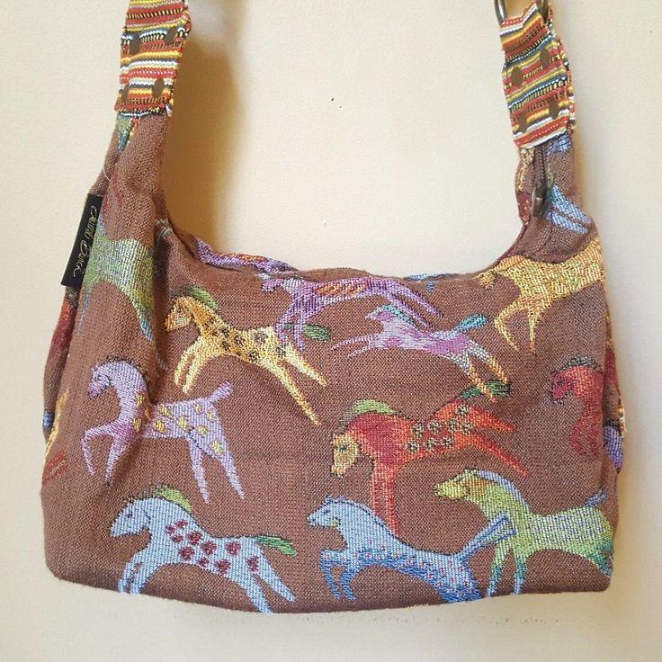 Laurel Burch Dancing Running Horses Southwestern Tapestry Shoulder Handbag Purse #LaurelBurch #ShoulderBag
