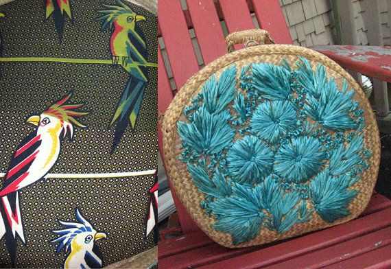 1940s Woven Hat Box with Cockatoo Printed Lining