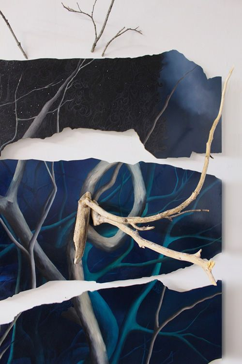 Rising Tide [detail 1] / 2013 / oil and glitter on laser-cut panels with branches / 72h x 66w x 25d inches