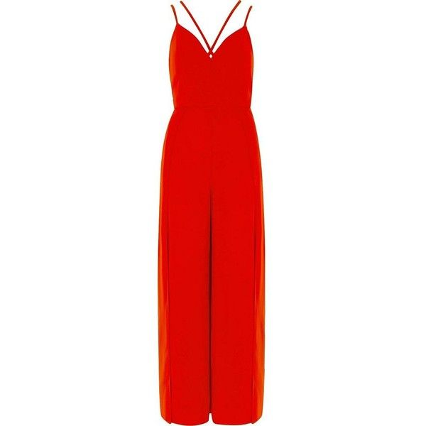River Island Petite red strappy cami split leg jumpsuit ($130) ❤ liked on Polyvore featuring jumpsuits, river island, red camisole, petite camisole, strappy cami and red jump suit