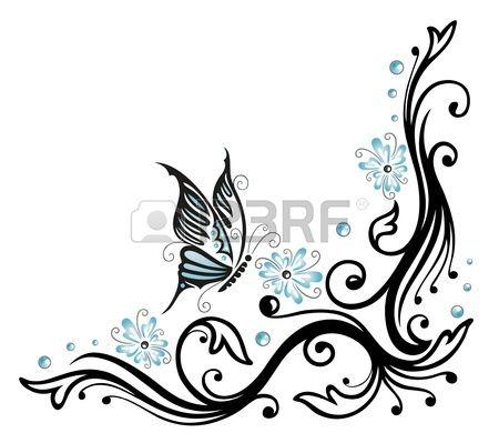 Negro, flores de color azul con la mariposa, estilo del tatuaje photo