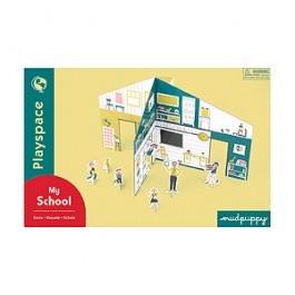 Kartonowy plac zabaw z figurkami./ Mudpuppy's My School Playspace.