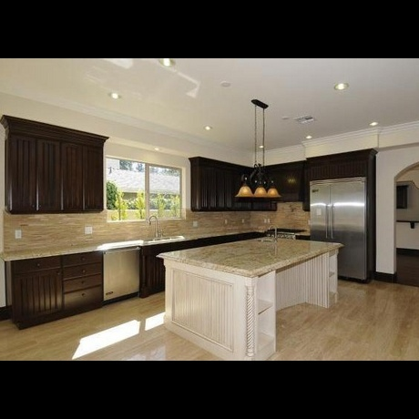 23 best images about should i paint my island white on for Dark kitchen cabinets light island
