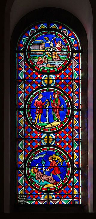 Sligo Cathedral of the Immaculate Conception West Aisle Window 02 Cain and Abel, Deluge 2013 09 14.jpg