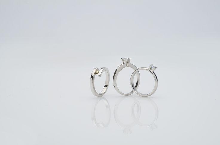prsteny - bílé zlato, brilianty